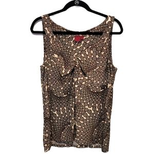 tank top with modern print in cream, red, & black